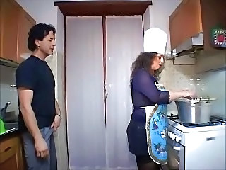 Chubby European Italian Kitchen Mature Wife