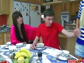 Daughter Family Kitchen  Mom Threesome