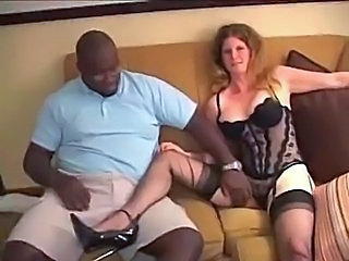 Blonde Interracial Lingerie  Stockings
