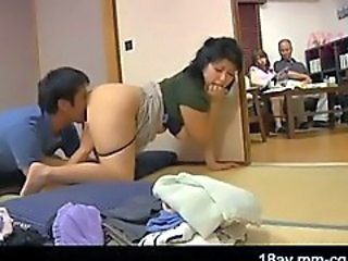Asian Clothed Family Japanese Licking  Mom Old and Young