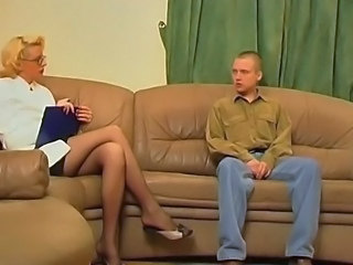 Blonde Glasses Legs  Old and Young Stockings