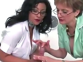Glasses Handjob  Threesome