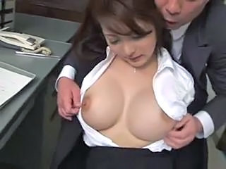 Asian Big Tits  Nipples Office