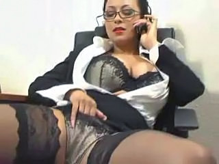 Amazing Glasses Lingerie Masturbating  Office Secretary Stockings