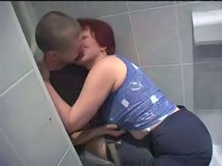 Amateur Mature Mom Old and Young Redhead Toilet