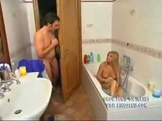 Bathroom Blonde European Italian Mom