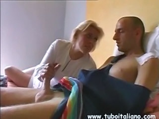 Blonde European Handjob Italian Mature Nurse Old and Young Uniform