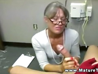 Glasses Handjob Mature Pov