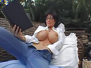 Big Tits Glasses Mature Outdoor Silicone Tits