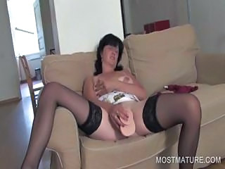 Dildo Masturbating Mature Solo Stockings Toy