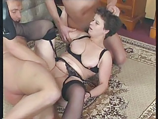 Hardcore Lingerie Mature  Stockings Threesome