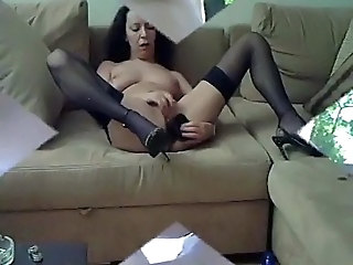 Dildo Masturbating Mature Stockings