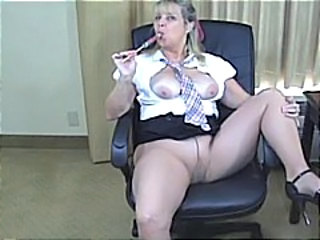 Big Tits Mature Office Pantyhose