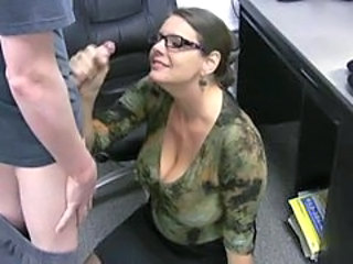 Glasses Handjob Mature  Office Secretary