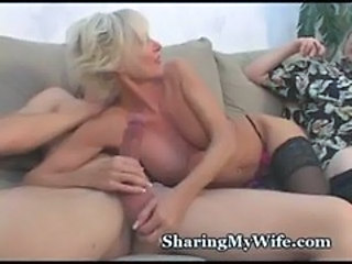 Handjob Mature Panty Stockings Threesome