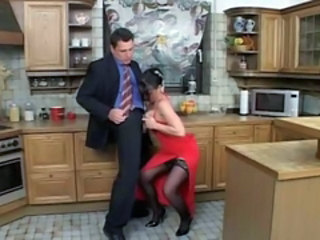European Kitchen  Stockings Tits job