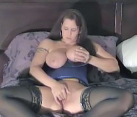 Big Tits Masturbating  Natural Stockings