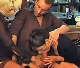Blowjob Clothed Mature Threesome