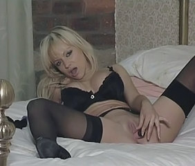 Blonde British European Lingerie Masturbating  Solo Stockings Toy