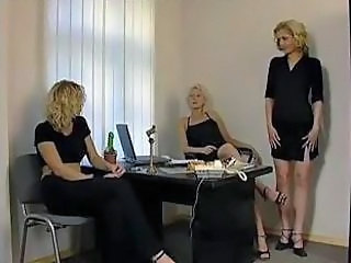 Lesbian  Office Threesome