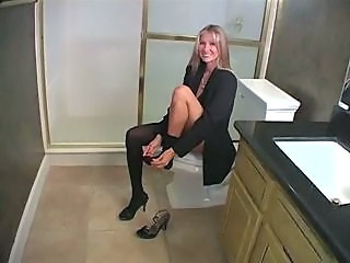 Stockings Toilet Wife