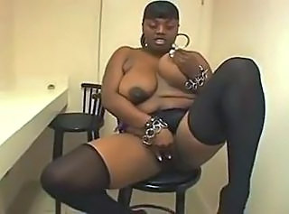 Big Tits Chubby Ebony Masturbating  Natural  Stockings