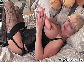 Big Tits British Dildo European Mature Stockings