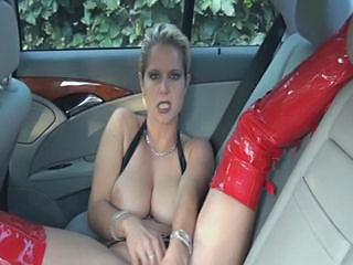 Big Tits Car Latex Masturbating