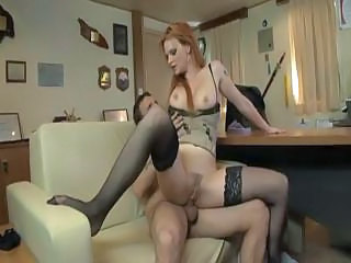 Amazing Anal Hardcore  Pornstar Redhead Riding Stockings