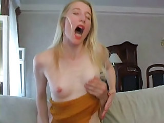 Blonde  Mom Orgasm Riding Russian Skinny Small Tits
