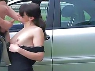 Car Handjob  Outdoor