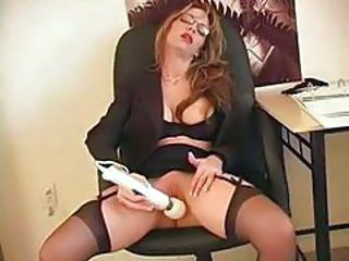 Glasses Masturbating  Office Secretary Stockings Toy