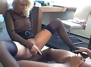 European Fishnet German Masturbating  Stockings Toy Wife