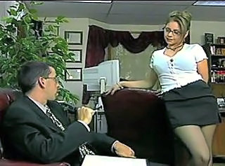 Amazing Big Tits Glasses  Office Secretary Stockings