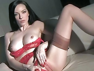 Amazing Brunette Cute Lingerie Masturbating  Solo Stockings