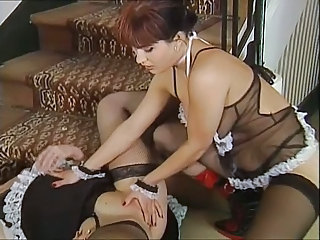 European German Lesbian Lingerie Maid  Stockings
