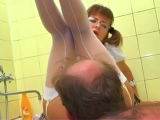 Glasses Licking  Old and Young Pigtail Russian Stockings