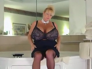 Bathroom Big Tits Mature Silicone Tits Stockings