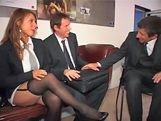 European German  Secretary Stockings Threesome