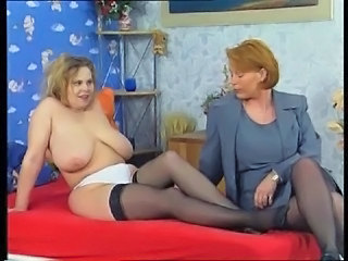 Big Tits European German Lesbian Mature Natural  Stockings