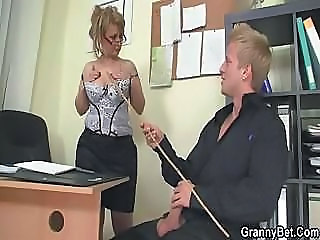 Big Tits Glasses Mature Office