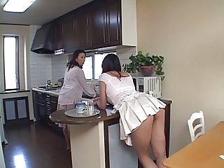 Asian Ass Daughter Japanese Kitchen Mom Old and Young Skirt