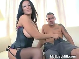 Amazing Big Tits Brunette Corset  Stockings