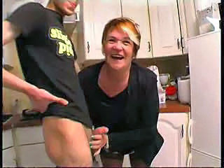 Handjob Kitchen Mature Old and Young Small cock
