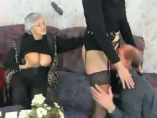 European German Granny Licking Stockings Threesome
