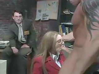 Blowjob Glasses  Office Secretary Threesome