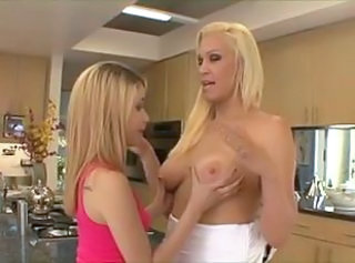 Daughter Kitchen Lesbian  Mom Old and Young Teen