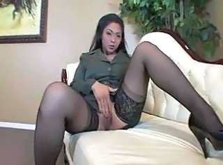 Asian Masturbating  Stockings