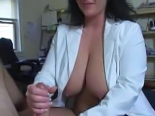 Big Tits Handjob  Natural Nipples Nurse Uniform