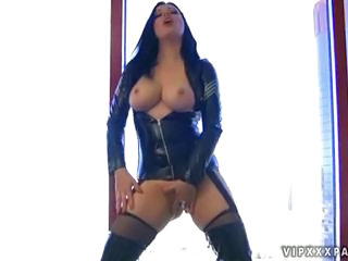 Amazing Latex Masturbating  Stockings